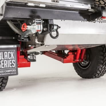 Independent suspension with dual shock absorbers per independent arm and coil springs, Two rear rated recovery shackles fitted standard, 100L Stainless water tank with 3mm stainless protective cover and lockable filler
