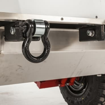 Two rear rated recovery shackles fitted standard, 100L Stainless water tank with 3mm stainless protective cover and lockable filler