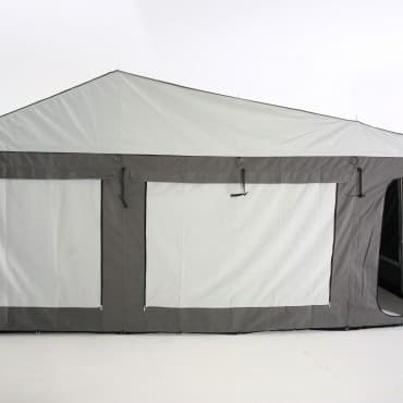 Large windows throughout tent for increased ventilation